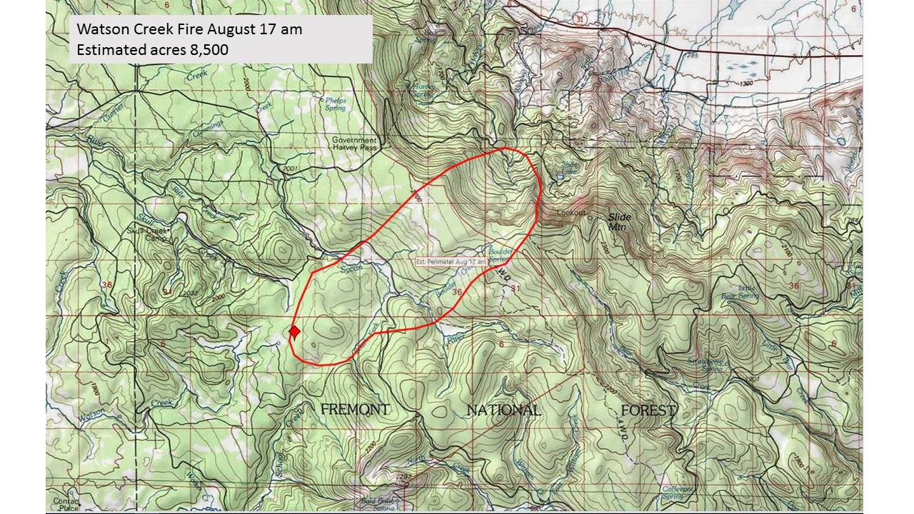 Watson Creek Fire Now 8 500 Acres Klamath Alerts